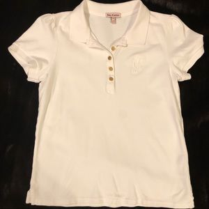 Juicy Couture Vintage top white logo gold buttons
